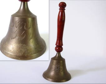 Vintage Brass Teacher Bell from India