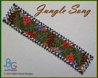 JUNGLE SONG Peyote Cuff Bracelet Pattern