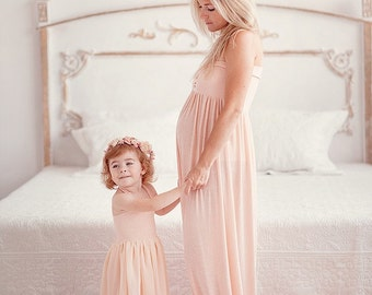 Blush mommy  and daughter set/jersey maternity gown/chiffon girl gown