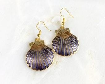 Vintage Cloisonne Purple Seashell Earrings