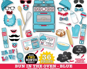 Bun in the Oven Photo Booth Props - Baby Reveal Shower, Oh Joy It's a Boy - Instant Download PDF - 36+ DIY Printable Props