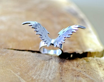 Artisan Sterling Silver Award Winning Custom Bird Ring aka Eagle Ring - Handcut and Creatively Crafted Statement in Solid 925 RG095