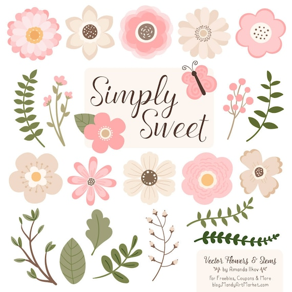 cute flowers clipart in soft pink soft pink vector flowers rh etsy com flowers clip art free flowers clip art png