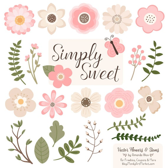 cute flowers clipart in soft pink soft pink vector flowers rh etsy com cute flower clipart free cute colorful flower clipart