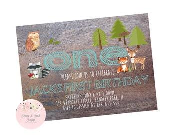 Woodland First Birthday Invitation, Woodland Invitation, Boy First Birthday Invitation, First Birthday Invitation - Digital