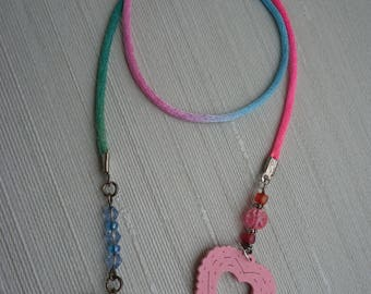 Ayla's Bead Creations  variegated cord pink to blue  Book Thong bookmark hearts
