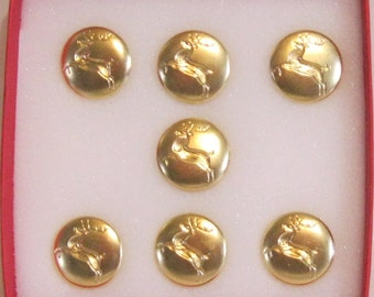 """Set of 7  Professional remoable 3/4"""" bright brass reindeer button"""
