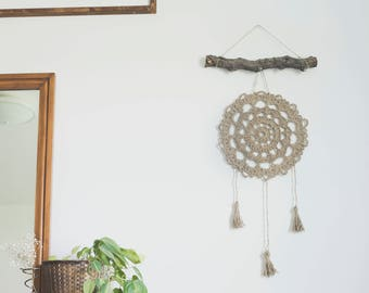 PDF Crochet Pattern for the Farmhouse Jute Dreamcatcher