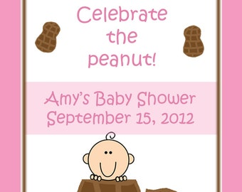 24 Personalized Baby Shower Favor Tags  Pink Little Peanut