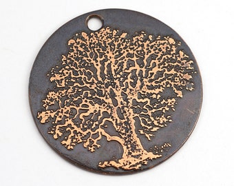 Round copper tree pendant, flat etched charm, 28mm