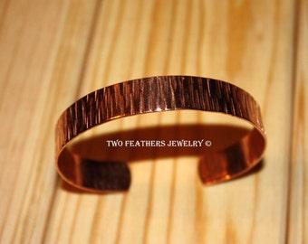 Copper Cuff Bracelet - Tree Bark Texture Metal Cuff - 7th Anniversary Gift - Arthritis Jewelry - Jewelry For Men - Boyfriend - Two Feathers