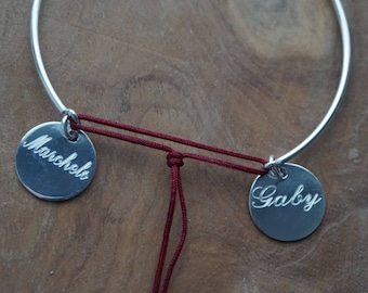 Bracelet half Bangle with two engraved 925 sterling silver medals / personalized bracelet