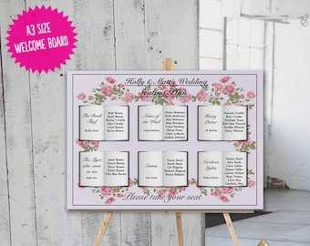 Flower Book Wedding Seating Table Chart Plan, Literature, Floral, Wedding Template Custom Design.