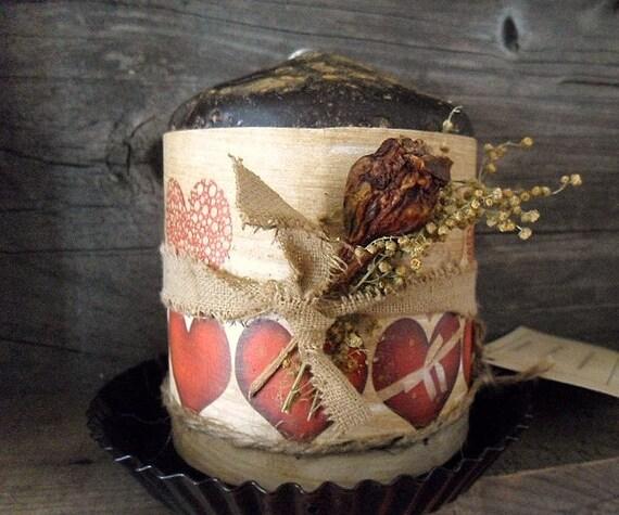 Primitive Valentine  Pillar Candle & Pan