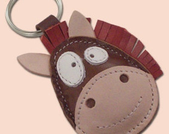 Horse Leather Keychain Ronnie The Cute Little Horse - FREE Shipping Worldwide - Handmade Leather Horse Bag Charm - Horse Lover Gift