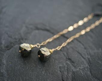 Pyrite long earrings - slim gemstone earrings - skinny sexy feminine dainty earrings- mixed metal gold pyrite earrings - gift for her