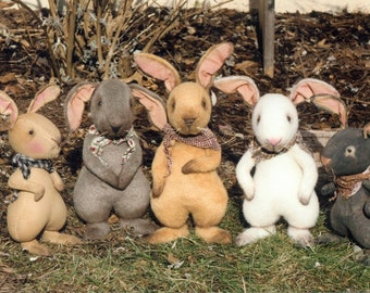 HH347E - The Gang's All Hare PDF Cloth Animal Sewing Pattern - Download Soft Fabric Animal Bunny Pattern Today!