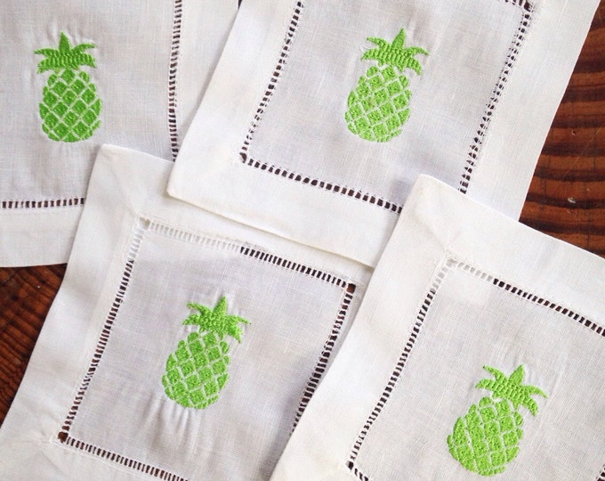 Featured listing image: Monogram Cocktail Napkins with Pineapple / Monogram Gift - Set of 4
