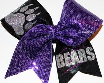 Custom BEARS Pawprint Cheerleading Hairbow Sequin Glitter
