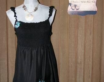 Upcycled Tattered Shabby Chic Dress Boho Gypsy Ranch Country Cowgirl Chic Prairie Girl Sundress