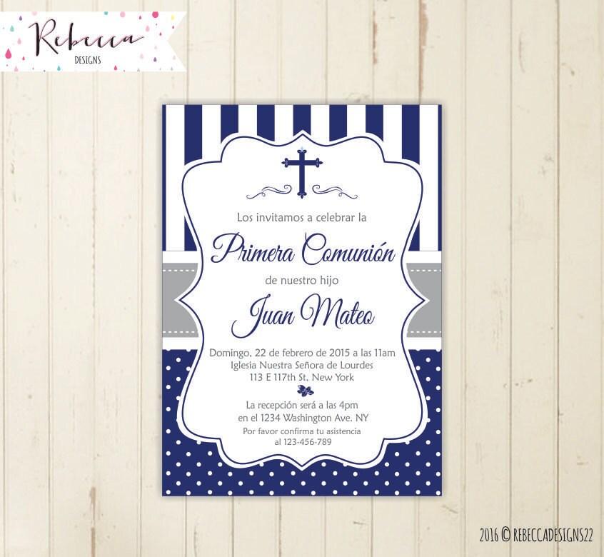 Invitacion de comunion niño azul imprimible primera comunion