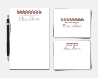 Apples & Cursive Stationery - Personalized Teacher Stationery Set - Teacher Gifts - Stationery for Teachers