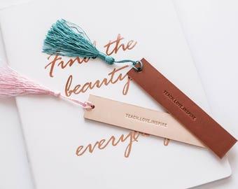 Personalized Leather Bookmark - Custom Monogram Bookmark - Birthday Gift for for Book Lover - Bookmark for Teacher - Gift for Book Reader
