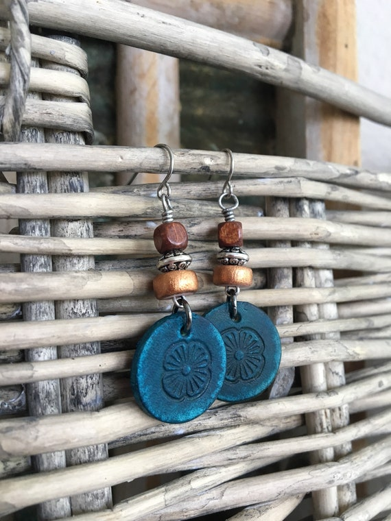 Leather Earrings - Western Style Bohemian Dangles with Flower Stamped Leather Disc & Wood Beads - Natural Jewelry, Small Lightweight Earring