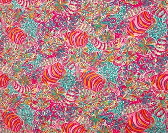 Cotton poplin fabric squares and pieces 6 X 6, 9 X 18  or 18 X 18 inches  Multi Swish Fish/ pieces   ~Lilly Pulitzer~ Summer 2017