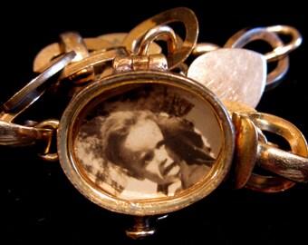 Vintage Glass Locket Bracelet
