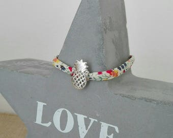 "Cord bracelet Liberty of London ""Phoebe M"" to ""pineapple"" Silver charm"