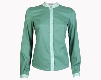 Green blouse, womens blouses, green women blouse, green long sleeve blouse, winter blouse, mandarin collar shirt, womens blouses