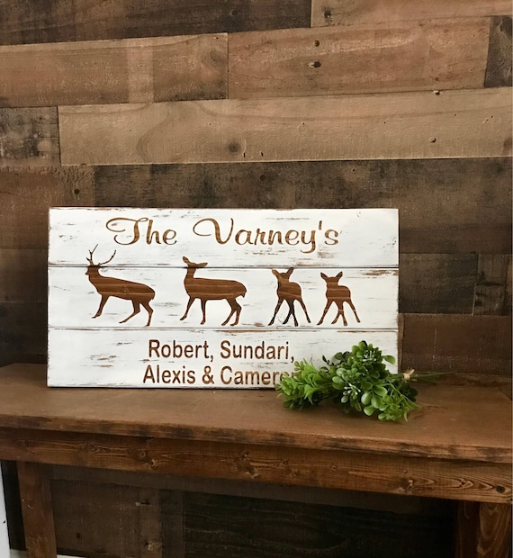 Personalized gift with couple and children names on distressed wooden custom wall hanging sign deer and baby fawns