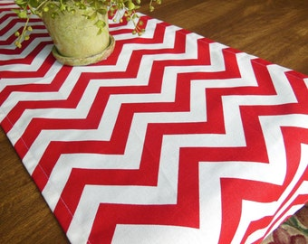 Red ChevronTable Runner Holiday Table Topper Buffet Runner Christmas Table Linens Wedding/ Baby Shower Table Topper Table Setting