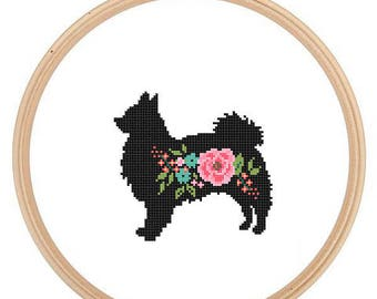 Long Haired Chihuahua Silhouette Cross Stitch Pattern Floral roses Pet animal wall art Dog cross stitch modern trendy great gift