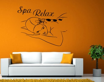 Spa Relax Massage Hot Stone Therapy Wall Window Vehicle Sticker Decal Vinyl Mural Decor Art L2082