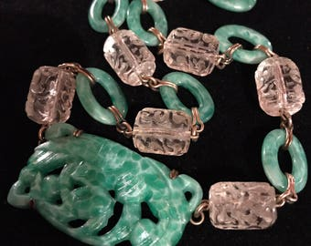 Art Deco Pierced Peking Glass with Carved Crystal Necklace- Raven