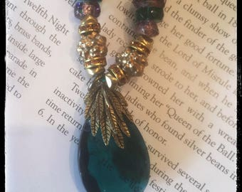 Antique and Vintage Designed Mardi Gras beads . Czech beads and vintage components beaded on silk . Old world clasp