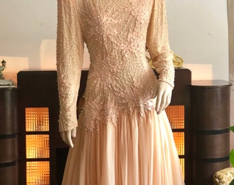 Gorgeous Vintage Beaded & Pearled Peach Dream Dress
