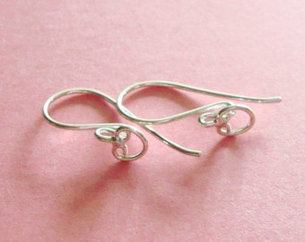 10 Pieces (5 Pairs), French Hook Ear Wire with Wide Heart Design, Sterling Silver .925, 21 Gauge, 23.5mm, SE234