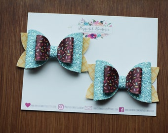 "Chocolate Ice-cream Layered Pigtail Set  3"" Hair Bow Headband"