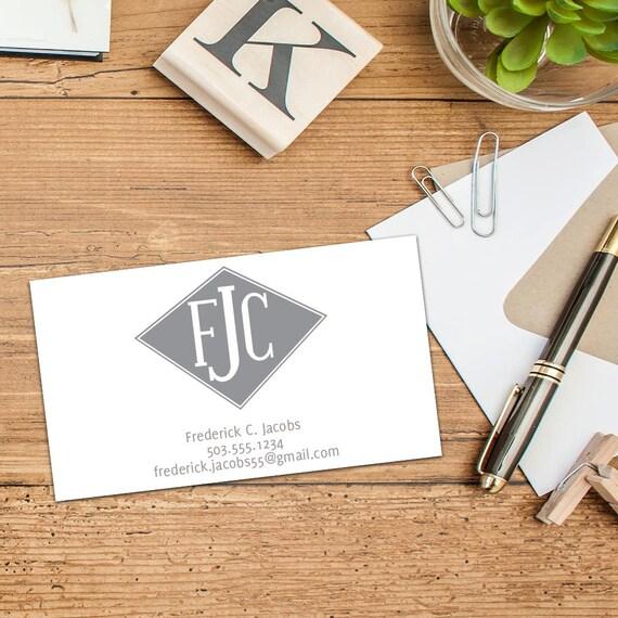 Diamond Shaped Monogram Calling Card, Business Cards, Set of 50 Cards, Set of 100 Cards, Sophisticated Personal Contact Cards, Custom Cards