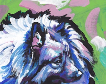 Keeshond art print of pop dog art painting bright colors 12x12