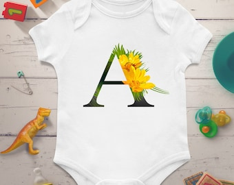 Personalized baby onesie, Personalized baby bodysuit, Custom baby onesie, Custom baby bodysuit, Initial letter baby bodysuit, Name onesie