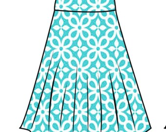 PDF skirt sewing pattern for woman42-52 for stretchy skirt and step-by-step video sewing tutorial.half circle skirt pattern for woman