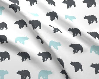 Bears Fabric - Bears - Charcoal And Blue Custom Fabric By Little Arrow Design - Bears Cotton Fabric by the Yard with Spoonflower