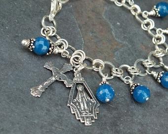 "Gemstone Rosary Bracelet of Royal Blue Agate, Sterling and Silver Fill Rosary ""Charm"" Bracelet, 1 Decade Bracelet, Catholic Jewelry"