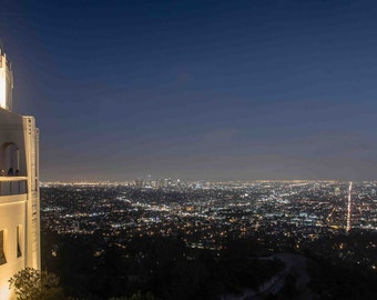 Blue sky of Los Angeles from Griffith Observatory just after Sunset