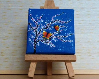 Tiny Blue Canvas, Pink and White Cherry Blossom with Butterflies, Original Acrylic Painting, Miniature Painting, Art & Collectibles