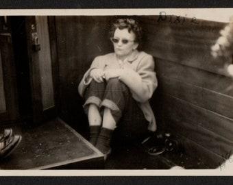 Vintage Snapshot Photo Dixie Huddled in Corner of Boat Dark Sunglasses 1940's, Original Found Photo, Vernacular Photography